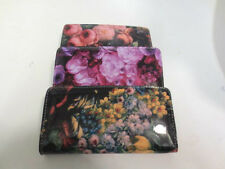LADIES FLORAL PATENT ZIP PURSE AVAILABLE IN THREE COLOURS 72552