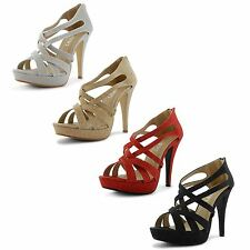 New Ladies Platform High Heel Strappy Ankle Peep Toe Party Sandals Size Uk 3-8