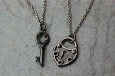 Key to My Heart Steampunk couples necklace set -gunmetal lock, medieval key