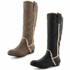 New Ladies Pixie Knee Length Pull On Boots Low Heel Winter Fashion Size UK 3-8