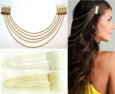 Fashion Chic Punk Hair Cuff Pin Clip 2 Combs Tassels Chains Head Band