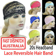 Lace Stretch Hair Head Band Reversible Turban 20s Great Gatsby Flapper Headband