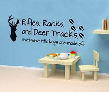 RIFLES RACKS & DEER TRACKS Quote Decal WALL STICKER Art Decor Boys Kids SQ1038