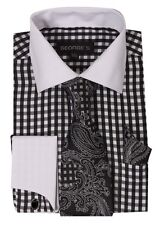 French cuff dress shirt Check Design with Tie&Hanky,Cufflinks Black AH615