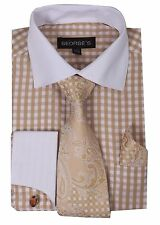 French cuff checked dress shirt with cuff links,paisley design tie&hanky Tan 615