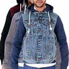 MENS TRENDY RETRO PUNK HOODED DENIM JACKET WITH JERSEY HOODY & SLEEVES ACID WASH