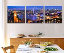 Stunning Night view of London Modern Wall Clock On Canvas Prints Set Framed