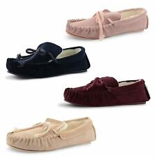 New Dunlop Ladies Fur Lined Genuine Leather Soft Moccasin Winter Slippers Size