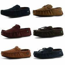 New Mens Dunlop Genuine Leather Suede Moccasin Slippers Soft House Shoes Sizes