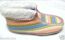 New Girls Ladies Knitted Fleece Boot Slippers Sizes 2.5-8 Striped Bright Neon