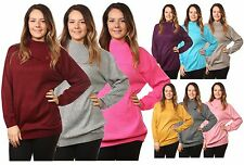 Ladies Women's Knitted 3 Buttons Polo Neck Pullover Jumper Top UK Plus Sizes