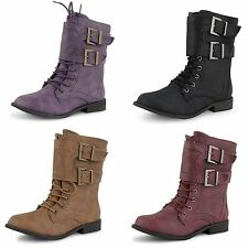 New Girls Boys Buckle Flat Lace Up Military Army Worker Combat Ankle Boots Size