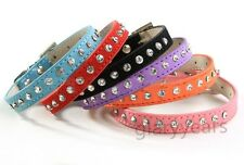 New Dog Cat Collars Diamond Rhinestone Cow Suede Chic Bling Crystal Buckle