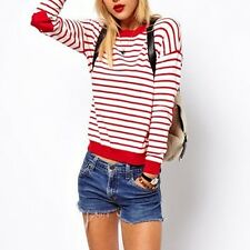 Slimming Fitted Red  White Striped Heart Elbow Patch Cotton Sweater For Women