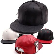 Womens Mens Hip-Hop Faux Leather Buckle Snapback Baseball Cap K-POP Fashion Hats