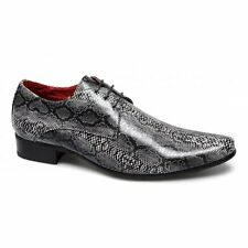 BRENZONE Mens Faux Snakeskin Leather Lace-Up Smart Casual Pointed Shoes Black