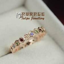18CT Rose Gold Plated Fashion Rainbow Band Ring W/SWAROVSKI ELEMENTS crystals