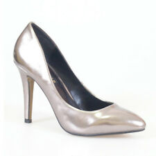 WOMEN SHOES METALLIC SILVER POINTY STILETTO HEELS WEDDING EVENING PARTY PROM