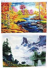 "New Finished Completed Cross Stitch needlepoint ""Landscape"" freeshipping to USA"