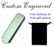 Engraved / personalised CHROME 8GB USB memory stick flash drive with gift pouch