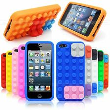 3D BUILDING BLOCKS LEGO BRICK SOFT SILICONE STAND CASE COVER FOR APPLE IPHONE 5S