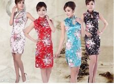 Chinese women's silk/satin mini dress Cheongsam  Sz: S M L XL 2XL