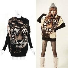 NEW Womens Crew Neck Batwing Tiger Print Sweater Jumper Pullover Casual Tops