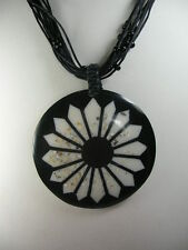 Circular Flower Black resin Pendant  multi strand bead cord necklace