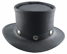 Head H Home Leather Top Hat w/ Buffalo Nickel Hat Band