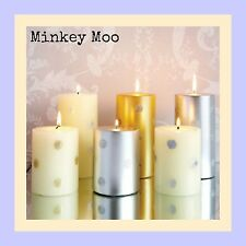 Bombay Duck Spotty Glitter Pillar Gift Candle 5 Colours 2 Sizes Xmas Wrapped