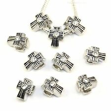 5x, 10x, 20x Antique Silver Cross With Crystal Charm Beads fit European Bracelet