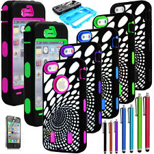 Hybrid Time Travel Rubber Rugged Combo Case Hard Cover Built In For iPhone 4G 4S