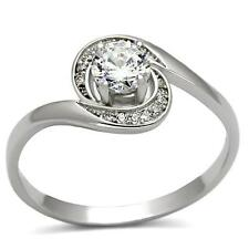 5mm Round Clear 0.5 CTTW CZ Halo 925 Sterling Silver Engagement Promise Ring