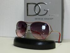 DG Womens Unique Frame & Temple Texture Aviator Sunglasses + Microfiber Bag