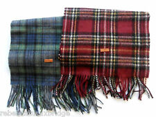 FRED PERRY Men's Scarves Woven Tartan Check Wool Scarf Red & Green