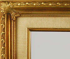 "PICTURE FRAME WOOD GOLD LINEN WEDDING ORNATE 2.25"" WIDE"
