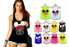 Ladies Girls Mickey New Dope Finger Mouse Hands Vest Top T-Shirt Hype Tank Swag