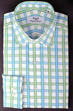 Green Striped Blue Checkered Business Dress Shirt Men's Formal Fashion Clothing