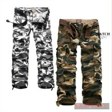 NEW MENS SIZE 30 32 34 36 CAMOUFLAGE ARMY MILITARY CARGO JEANS COTTON PANTS