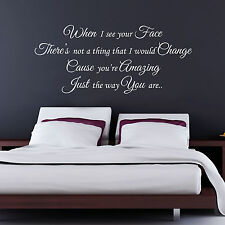 BRUNO MARS - JUST THE WAY YOU ARE SONG LYRICS - WALL STICKER DECAL TRANSFER