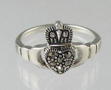Genuine .925 Sterling Silver/Marcasite Claddagh Heart Gimmel Ring Size 5-10