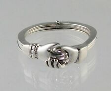 New Sterling Silver Gimmel RING Opens-Closes with Claddagh Hands Size 5-9