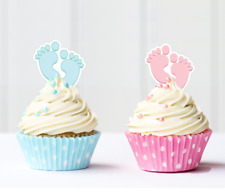 baby feet pink or blue girl boy edible cupcake cake toppers baby shower
