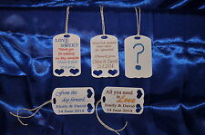 30 x Personalised Wedding Favour  Tags ~ 5 Designs ~ including your own design!