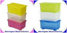 IKEA 'GLIS' PACK OF 3 STORAGE BOX SET - CHOOSE FROM 2 COLOURS - STACKABLE