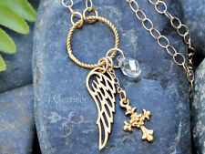 Gold Grace Necklace - 22k gold plated Angel wing, cross & crystal birthstone
