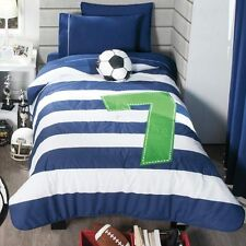 Twin and Full  Boys Soccer 7 Seven Comforter Set with Matching Curtains