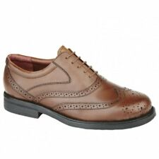 Mens Soft Leather Wingtip Oxford Padded Lace-Up Formal Office Brogue Shoes Brown