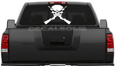 Skull with crossed guns solid decal / sticker diesel boat trailer rzr atv ak 47