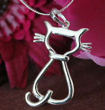 925 Sterling Silver cat silhouette pendant & necklace